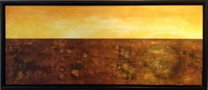 Acrylic on birch panel, 16x40in. Janie Lockwood. $950