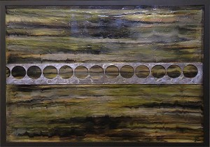 Colored resin, metal on canvas, 30x40in. Nikki Gour. $1850