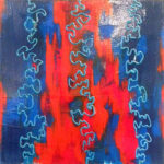 Blue-Red-Blue. 2x2ft, $500. Tammy Fischer.